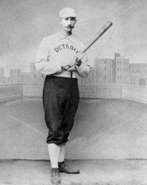 Posed at bat portrait of Samuel Luther 'Sam' Thompson, Detroit c. 1885-88 - BL-878.74 (National Baseball Hall of Fame Library)