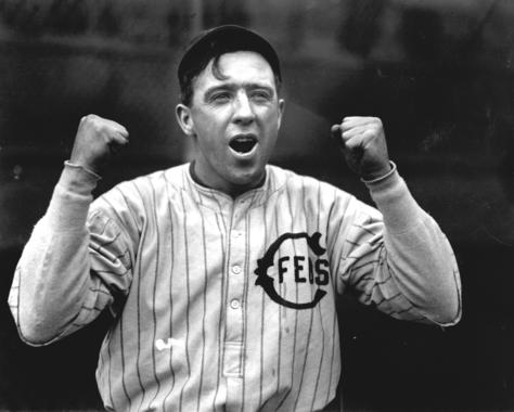 Photograph of Joe Tinker as a Chicago Chi-Fed raising his arms in excitement. BL-355.71
