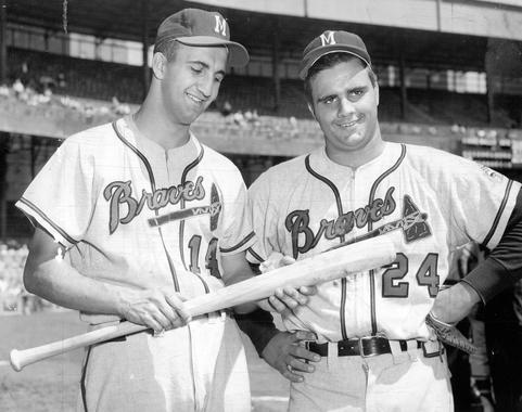 Joe and Frank Torre at the Polo Grounds. Joe is a senior in high school - BL-3754-68WTg (National Baseball Hall of Fame Library)