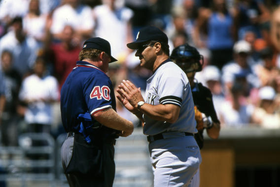 New York Yankee manager Joe Torre agruing with umpire, June 25, 2000 - BL-7-2013-6414 (Ron Vesely/National Baseball Hall of Fame Library)