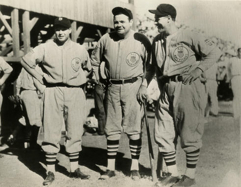 Jimmie Foxx, Babe Ruth, and Lou Gehrig joined other American League players to form a special tour team called the All Americans for the 1934 goodwill trip to Japan. - BL-1532-68WTfn (National Baseball Hall of Fame Library)