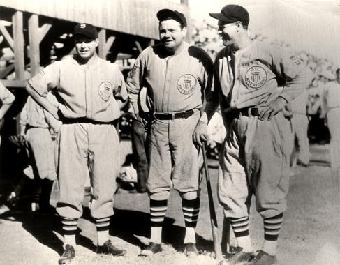 Jimmy Foxx, Babe Ruth, and Lou Gehrig during a 1934 tour of Japan. BL-1532.68WTfn