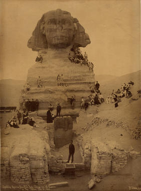 Members of the Spalding Tour climb on the Sphinx in Egypt as part of a tour stop in Cairo. B-2.58 (National Baseball Hall of Fame)