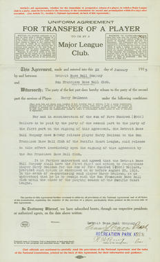 Transfer Agreement of Harry Heilmann between San Francisco and Detroit Baseball Clubs on February 11, 1945. BL-7526.70 (National Baseball Hall of Fame Library)