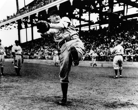 Dazzy Vance of the Brooklyn Dodgers warming up - BL-4118-99 (National Baseball Hall of Fame Library)