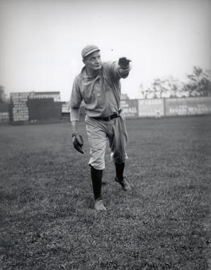Philadelphia Athletics pitching great Rube Waddell poses for photographer Charles Conlon at New York's Hilltop Park, September 19, 1905. - BL-228-92 (Charles M. Conlon / National Baseball Hall of Fame Library)