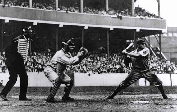 Umpire Hank O'Day, New York Giants catcher Roger Bresnahan and Pittsburgh Pirates batter Honus Wagner, New York's Polo Grounds, September 19, 1908 - BL-3993-99 (National Baseball Hall of Fame Library)