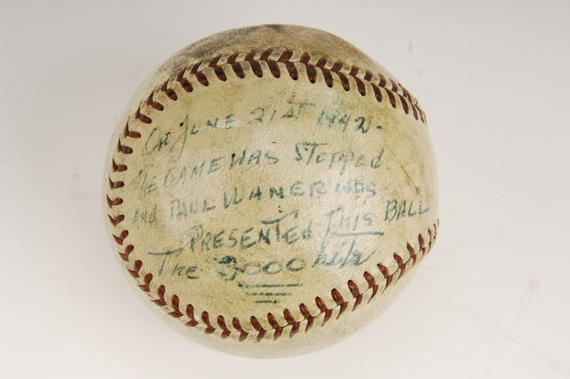 When Paul Waner, playing for the Boston Braves on June 21, 1942, knocked this ball for a single off his old teammate Rip Sewell, Waner was celebrated as just the seventh major leaguer to garner 3,000 base hits  - B-331-67 (Milo Stewart Jr./National Baseball Hall of Fame Library)