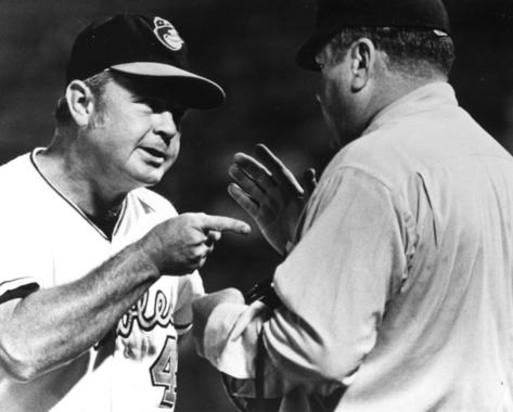 Earl Weaver of the Baltimore Orioles agruing with the umpire - BL-4732-71a (National Baseball Hall of Fame Library)