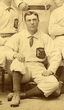 New York Gothams team photo, 1883. Detail showing Mickey Welch - BL-1883-4008-76 (National Baseball Hall of Fame Library)
