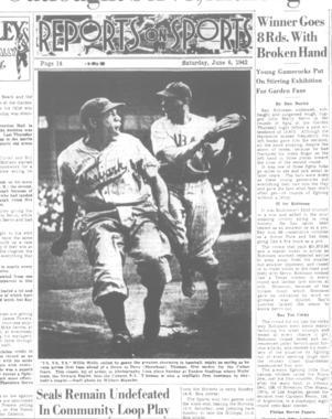 Newspaper advertisement, June 6, 1942.  Willie Wells of the Newark Eagles - BL-142-2008-2 (Larry Hogan/National Baseball Hall of Fame Library)