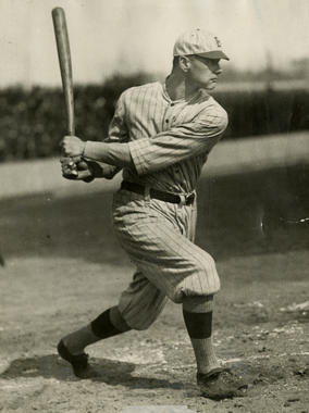 Zack Wheat batting while with Brooklyn - BL-1548-68WTa (Charles M. Conlon/National Baseball Hall of Fame Library)