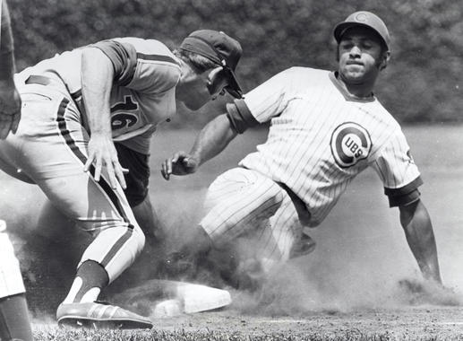 Billy Williams of the Chicago Cubs safe at third - BL-5511-72 (National Baseball Hall of Fame Library)