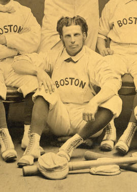Group portrait of the 1874 Boston Red Stockings. Detail showing George Wright.
