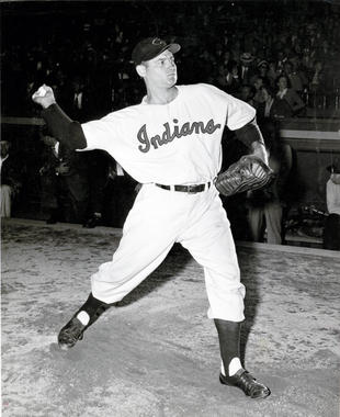 Early Wynn of the Cleveland Indians warming up - BL-966-78 (National Baseball Hall of Fame Library)