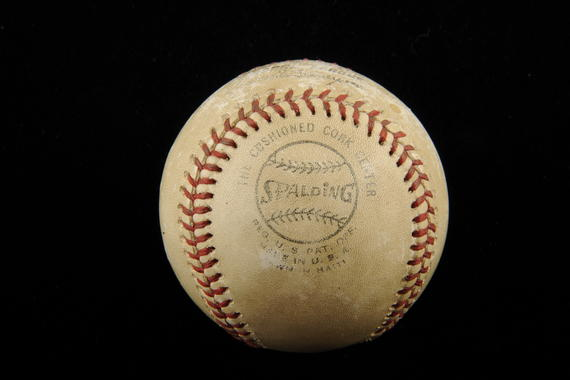 Ball thrown by Bob Gibson for his 3,000th career strikeout, Cesar Geronimo of the Cincinnati Reds struck out in the 2nd inning July 17, 1974 at Busch Stadium - B-389-74 (Milo Stewart Jr./National Baseball Hall of Fame Library)