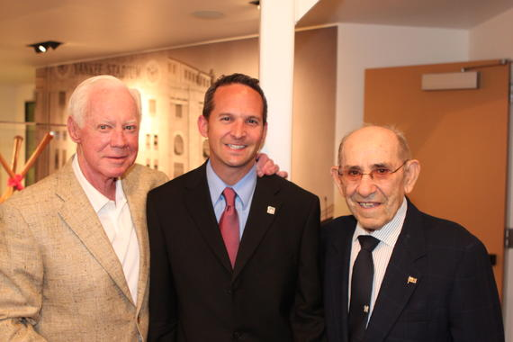 Hall of Fame players Whitey Ford (left) and Yogi Berra pose for a photo with Museum President Jeff Idelson. (Photo courtesy of Jeff Idelson)