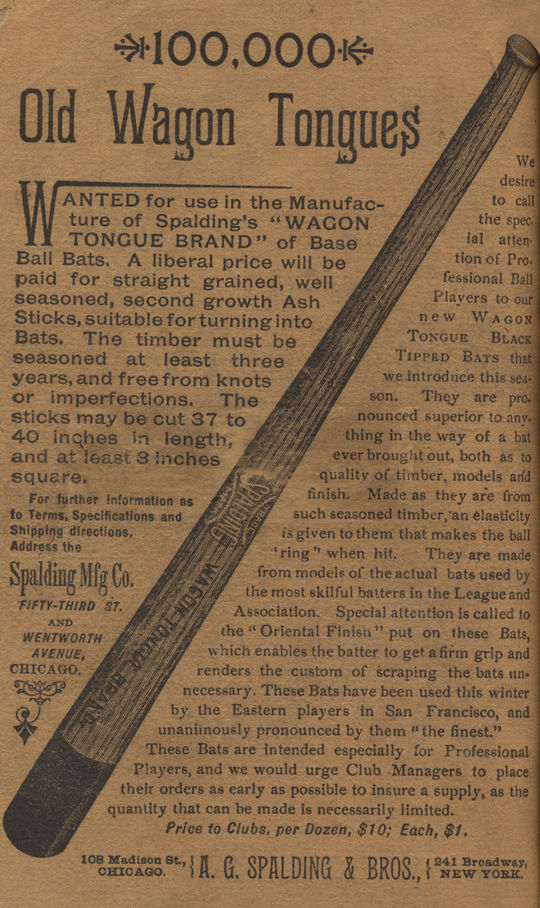 Advertisement for Spalding Wagon Tongue baseball bats from <em>Spalding's Official Base Ball Guide, 1888</em>. (National Baseball Hall of Fame)