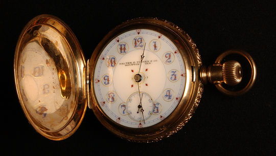Pocket watch given to Jimmy Slagle of the 1896 Houston Baseball Club. B-181.58 (Milo Stewart, Jr. / National Baseball Hall of Fame)