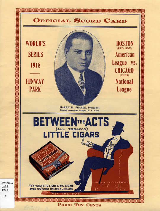 An official 1918 World Series scorecard. GV878.4.A15 1918.