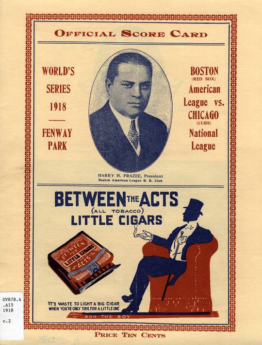 An official 1918 World Series scorecard. GV878.4.A15 1918.