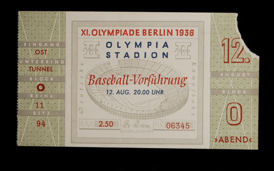 A ticket from the 1936 Olympics. B-153.2003 (Milo Stewart, Jr. / National Baseball Hall of Fame Library)