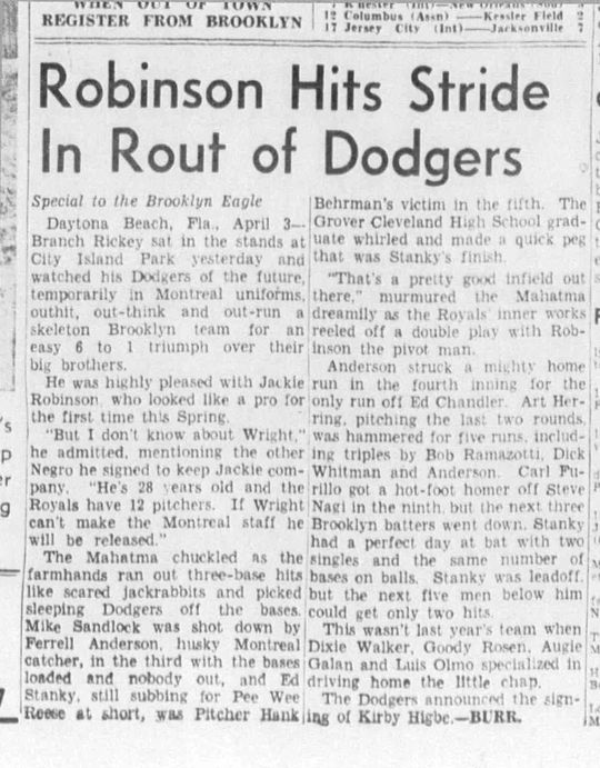Game recap from the 1946 <em>Brooklyn Eagle</em>. (National Baseball Hall of Fame Library)
