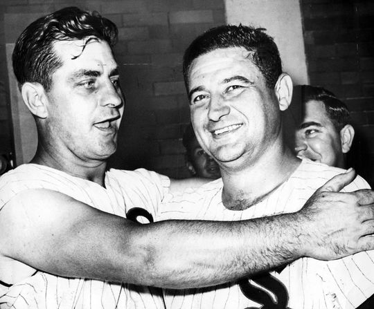 Early Wynn, pictured with teammate Ted Kluszewski, during the 1959 World Series. (National Baseball Hall of Fame)