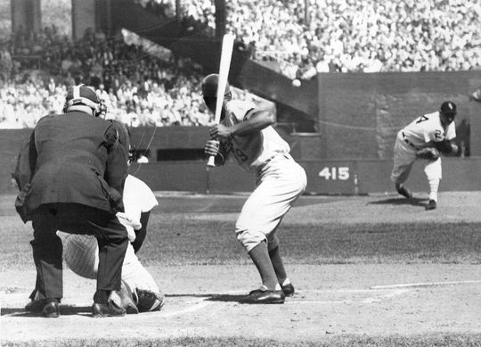 Early Wynn throws out the first pitch of the 1959 World Series, against the Los Angeles Dodgers. (National Baseball Hall of Fame)