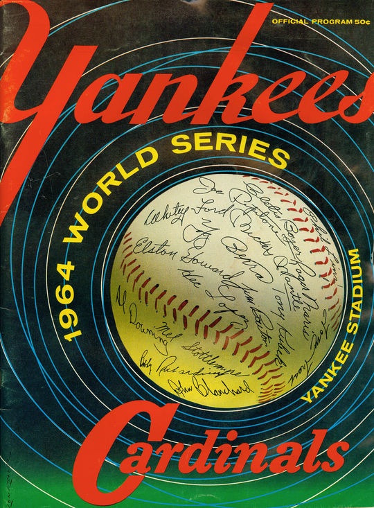 A game program from the 1964 World Series, now preserved at the National Baseball Hall of Fame, in which the Cardinals defeated the Yankees, 4-3.  (National Baseball Hall of Fame)