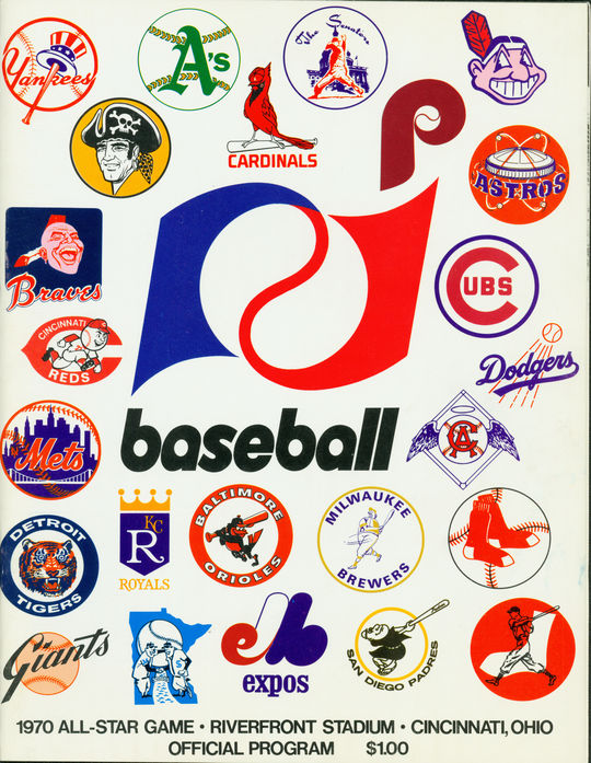 The official program from the 1970 MLB All-Star Game at Riverfront Stadium in Cincinnati, Ohio. BL-3923-74 (National Baseball Hall of Fame Library)
