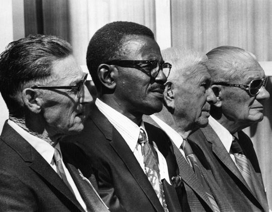 From left, inductees Chick Hafey, Satchel Paige, Harry Hooper and Rube Marquard on the stage at the 1971 Induction Ceremony in Cooperstown. BL-3286-71 (National Baseball Hall of Fame Library)
