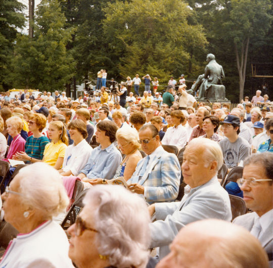 Cooper Park, adjacent to the Hall of Fame Library, played host to the 1982 Induction Ceremony on Aug. 1, 1982. (National Baseball Hall of Fame and Museum)