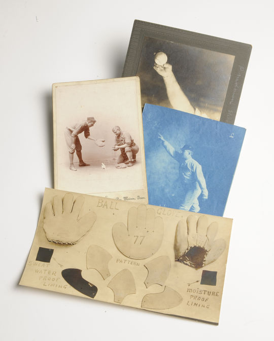 Pattern pieces of glove; photo of pitching instruction; two photos of Kennedy demonstrating pitching grip and stance. (Milo Stewart, Jr. / National Baseball Hall of Fame and Museum)