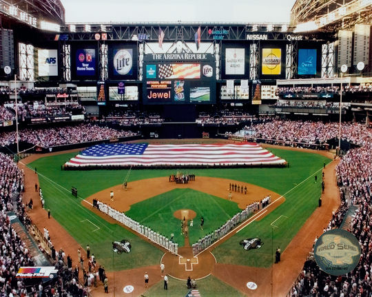 The 2001 World Series, in which the New York Yankees played the Arizona Diamondbacks, provided the country a needed distraction in the aftermath of 9/11. (PhotoFile / National Baseball Hall of Fame)