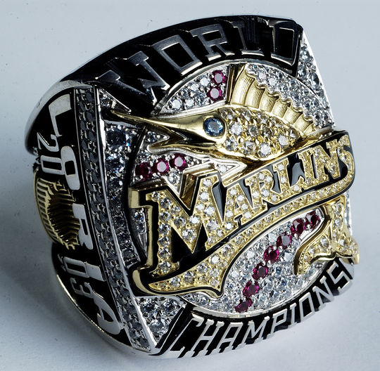 The championship rings for the 2003 Florida Marlins are some of the most impressive ever given to big league players. The National Baseball Hall of Fame and Museum's collection contains examples of almost all championship rings awarded by teams that won the World Series. B-235.2004 (Milo Stewart, Jr. / National Baseball Hall of Fame)