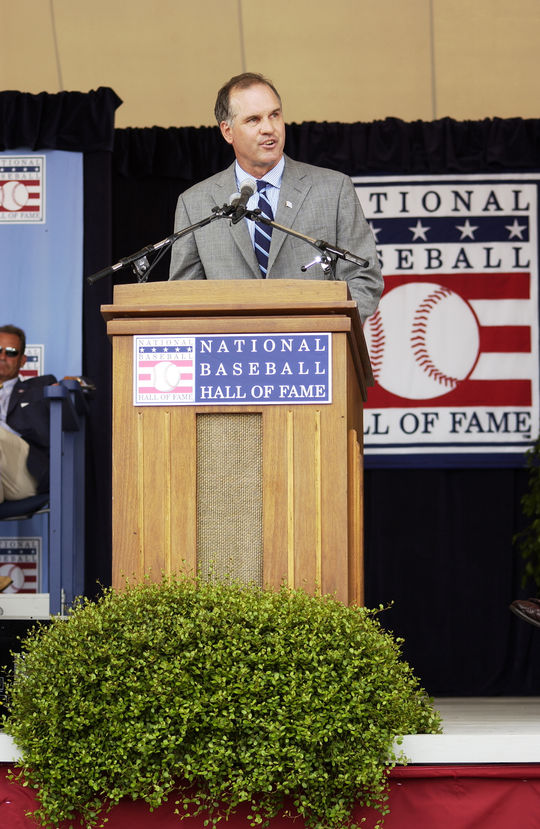 Ryne Sandberg was inducted into the National Baseball Hall of Fame on July 31, 2005. (Milo Stewart Jr./National Baseball Hall of Fame and Museum)