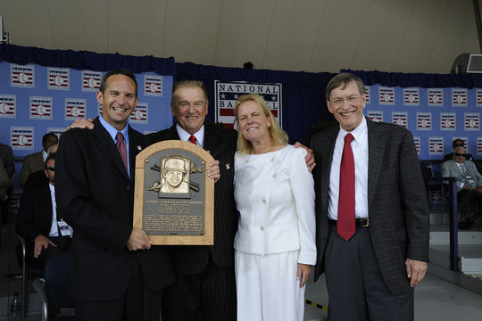 Bud Selig (far right), with Hall of Fame President Jeff Idelson (far left), Whitey Herzog (center left) and Chairman of the Board Jane Forbes Clark (center right) at Herzog's induction in 2010. (Milo Stewart Jr. / National Baseball Hall of Fame)