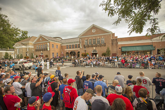 A record number of fans lined Main Street in Cooperstown to see the annual <em>Parade of Legends</em> during the 2015 Hall of Fame Weekend. (Jean Fruth / National Baseball Hall of Fame)