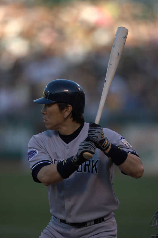 Hideki Matsui appeared in 11 Postseason series over six years with the Yankees, hitting .312 with 10 homers and 39 RBI in 56 games. (Brad Mangin/National Baseball Hall of Fame and Museum)