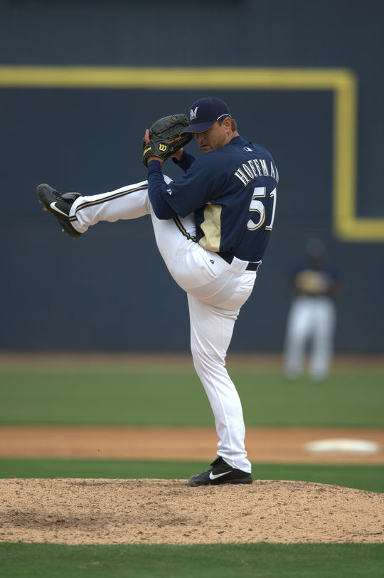 Trevor Hoffman went from a minor league shortstop playing in the Cincinnati organization to a relief pitcher with the most career saves in baseball history.  (Brad Mangin / National Baseball Hall of Fame)