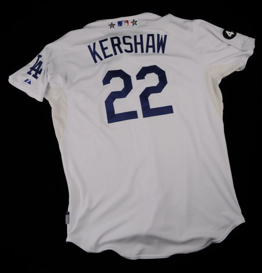 Clayton Kershaw's jersey worn on July 7, 2011, when he recorded his ninth win of the season. (Milo Stewart Jr./National Baseball Hall of Fame and Museum)