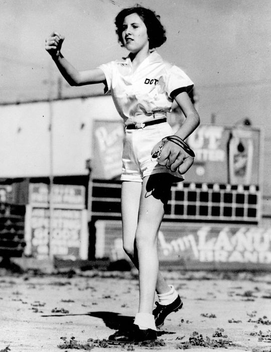 Dottie Collins played for the Minneapolis Millerettes in 1944, and then the Fort Wayne Daisies from 1945-1948, and again in 1950. (National Baseball Hall of Fame and Museum)