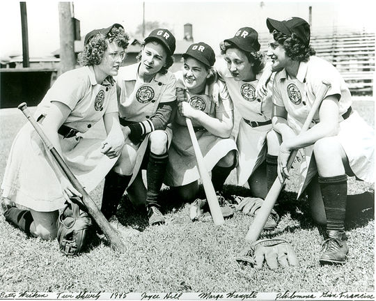 The Grand Rapids Chicks in 1945,  pictured left to right: Betty Whiting, Twila Shively, Joyce Hill, Marge Wenzell and  Philomina Gianfrancisco. (National Baseball Hall of Fame)