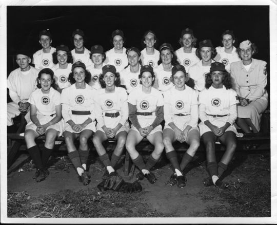 A team photo of the AAGPBL's Kenosha Comets, circa 1948. (National Baseball Hall of Fame and Museum)