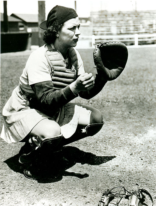 """Dorothy """"Mickey"""" Maguire posed in a catching position. BL-3334.98 (National Baseball Hall of Fame Library)"""