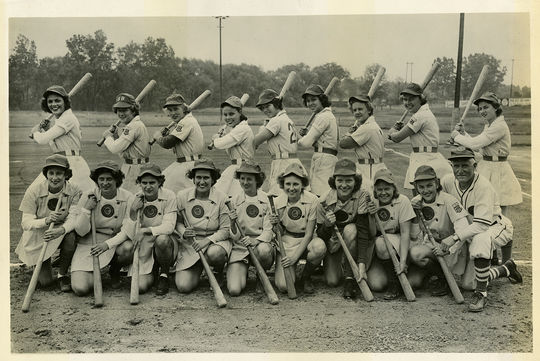 The South Bend Blue Sox, pictured in 1949. Rita Briggs is in the back row, fifth from the right. (National Baseball Hall of Fame and Museum)
