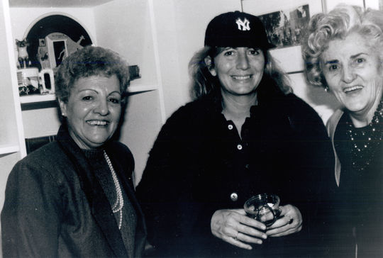 """Former AAGPBL players Betty Trezza (left) and Ernestine Petras (right) with """"League of Their Owne"""" Director, Penny Marshall. BL-4767-97 (National Baseball Hall of Fame Library)"""