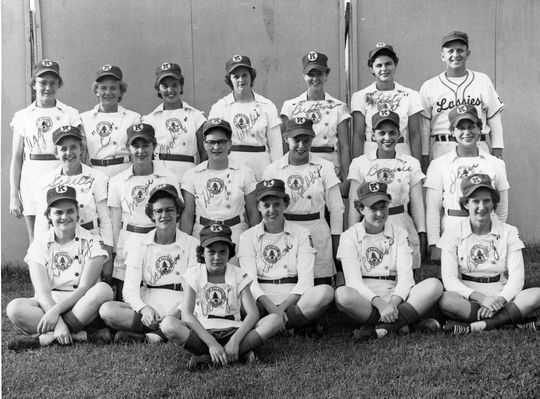 The Kalamazoo Lassies, pictured in 1952. (National Baseball Hall of Fame and Museum)