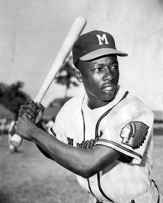 Posed batting of Hank Aaron at spring training in Vero Beach, Florida, March 1954. BL-1552-68WTa (National Baseball Hall of Fame Library)